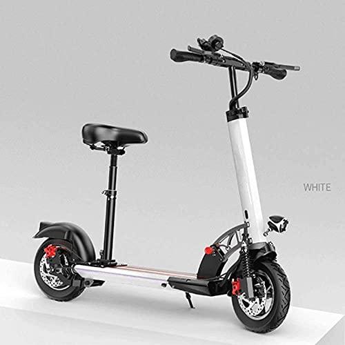 LLKK Scooter universal eléctrico deslizante ejercicio 10' 36V 500W velocidad máxima 40 km/h luz plegable eléctrica adulto (color: blanco)