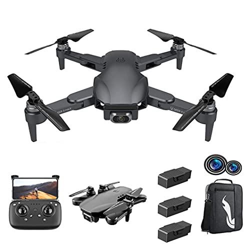 GZTYLQQ Drone Adulto 6DRC con Doppia Fotocamera, Giocattolo per Bambini Elicottero a Quattro Assi con Telecomando Pieghevole, 3 batterie, Volo in traiettoria, con Zaino
