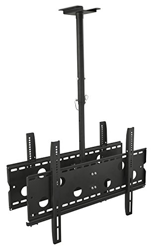 Mount-It Dual TV Ceiling Mount Rotating and Tilting Double TV Ceiling Mount for Samsung, Sony, LG, Sharp,Vizio, Haier, Toshiba, Sharp, Element, 32, 40, 42, 48, 50, 55, 60, 65, 70, 75 Inch TVs,Black