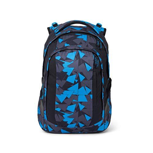 satch Sleek Blue Triangle, ergonomischer Schulrucksack, 24 Liter, extra schlank, blau