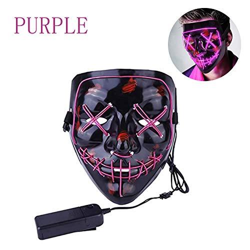 WELLXUNK LED Maske Purge Maske mit 3 Blitzmodi für Halloween Fasching Karneval Party Kostüm Cosplay Dekoration Halloween Gruselige Maske (lila)