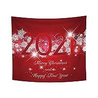 ファッションタペストリーメリークリスマスと2021年明けましておめでとうございます手紙スノーフレーク印刷壁掛けホームリビングルームの装飾150cmX200cm