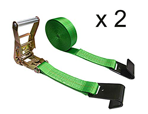 "Mega Cargo Control (Pack of 2 2"" x 30' Heavy Duty Ratchet Tie-Down Wheel & Dolly Flat Hook Straps for Truck, Flatbed, Trailer (Green)"