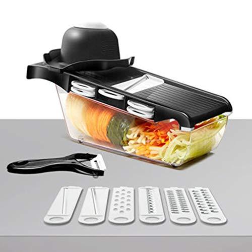 Cutter de légumes avec lame en acier trancheuse de pommes de terre Peeler carotte Râpe à fromage légumes Slicer Accessoires de cuisine (Color : Black)