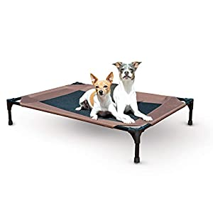 K&H PET PRODUCTS Original Pet Cot Elevated Dog Bed Chocolate/Black Mesh Large 30 X 42 X 7 Inches