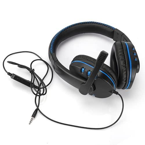 Gugxiom Auriculares para juegos de ordenador, maravillosos auriculares con micrófono, auriculares para juegos de PC para amantes de la música (metal desnudo negro y azul)