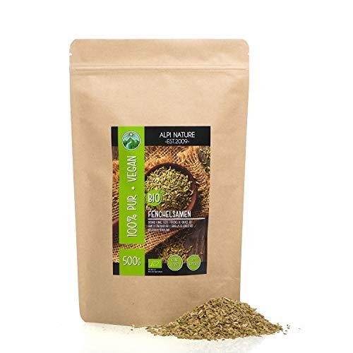 Graines de fenouil biologiques entières (500g), qualité de fenouil cru de culture biologique certifiée, graines de fenouil sans gluten, sans lactose, testées en laboratoire, végétaliennes