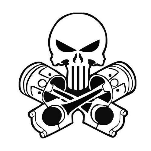 Pegatina Promotion Punisher mit Kolben Totenkopf Skull 20cm Aufkleber,Autoaufkleber,Lack,Scheibe,Wand, UV& Waschanlagenfest Profi Qualität UV& Waschanlagenfest,Profi Qualität