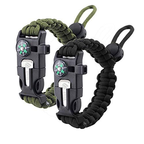 ZHIYE Survival Paracord Bracelet Flint Fire Starter Scraper Compass Wilderness Survival Whistle Adjustable Wristband 2Pack Black&Armygreen
