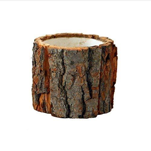 Holz Blumentopf klein Blumentöpfe Naturholz Pflanztrog aus Holz Mini Pflanze Töpfe Kreativ Rinde Modellierung Waldstil für Rinde Blumentopf Dekorative Lagerorganisator