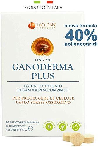 REISHI - GANODERMA PLUS da Fitoricerca Lao Dan® | 40% polisaccaridi - estratto Premium Quality | Difese immunitarie | PRODOTTO IN ITALIA
