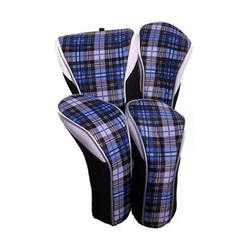Taboo Fashions 4-Pack Designer Golf Club Cover Head Cover Set (Blue Tartan)