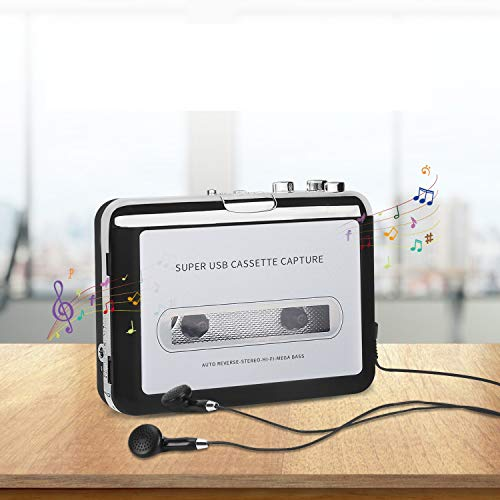 Cassette to MP3 Converter, Tape Player Walkman USB Cassette Player from Tapes to MP3, Digital Files for Laptop PC and Mac with Headphones from Tapes to Mp3 (Black)