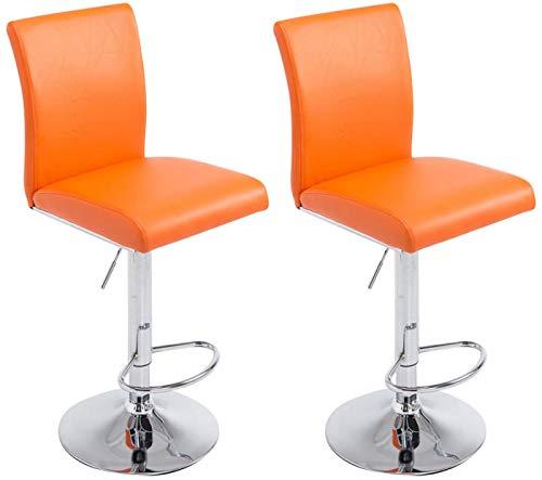 CLP Set 2X Taburete de Bar Köln en Cuero Sintético I 2X Taburete Regulable en Altura & Giratorio I Color: Naranja