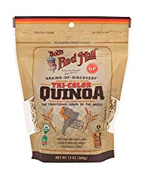 Tri-colour quinoa is a blend of organic white, black and red quinoa A good source of fiber Pre-rinsed and ready to cook Great in soups and salads The ideal addition to a vegan or gluten-free diet