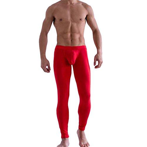 dPois Herren Strumpfhose Durchsichtig Leggings Semi Transparent Lange Strümpfe Männer Leggings Pantyhose Unterhose mit Weichbund Unterwäsche Nachtwäsche Rot XL