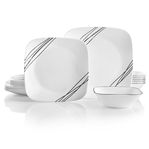 Corelle Service for 6, Chip Resistant, Simple Sketch Dinnerware Set, 18-Piece