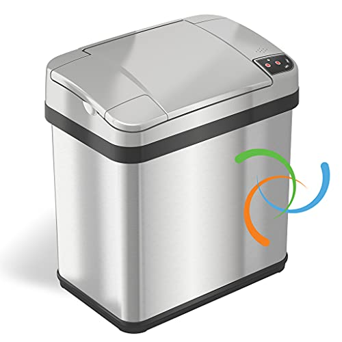 iTouchless 2.5 Gallon Bathroom Touchless Trash Can with Odor Filter and Fragrance Kitchen...