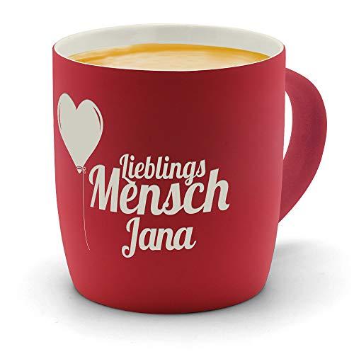 printplanet - Kaffeebecher mit Namen Jana graviert - SoftTouch Tasse mit Gravur Design Lieblingsmensch - Matt-gummierte Oberfläche - Farbe Rot