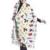 Animals-Origami - Bufanda de invierno para mujer, diseño de pashmina, chal para mujer, vestido de noche, dama de honor, boda, novia, largo, grande, cálido, grueso, reversible