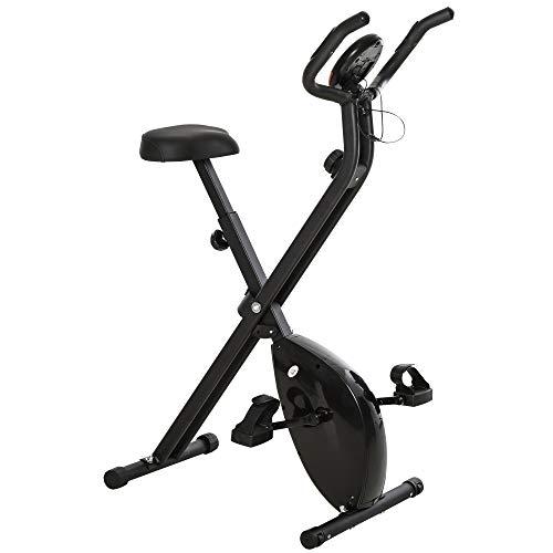 HOMCOM Bicicleta Estática Plegable Bicicleta Magnética Xbike con Resistencia Ajustable Pulsómetro Pantalla LCD Sillín Cómodo Acero