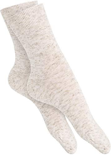 Damensocken ohne Gummi bunt oder weiß Baumwolle Spitze Handgekettelt, 10 Paar (35-38, 10 Paar Leinen)