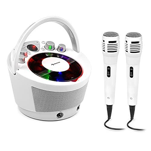 Auna SingSing BT Equipo de Karaoke - con Reproductor de CD y Pantalla LED, Efectos de luz y Eco, Bluetooth y alimentación por Pilas, 2 micrófonos dinámicos, Blanco