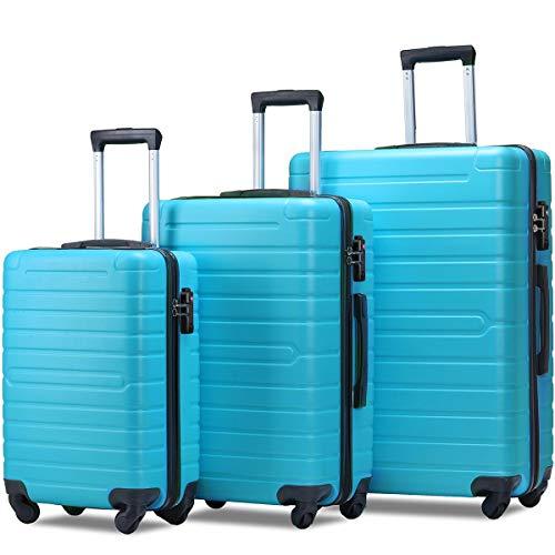 Flieks Luggage Set 3 Piece with TSA Lock Light Weight Hardside Spinner Suitcase (Soft Blue)