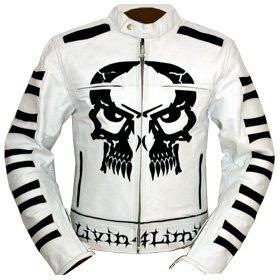 4LIMIT Sports Motorradjacke Leder Crossbones Biker Motorrad Jacke Lederjacke Weiß, Größe XL