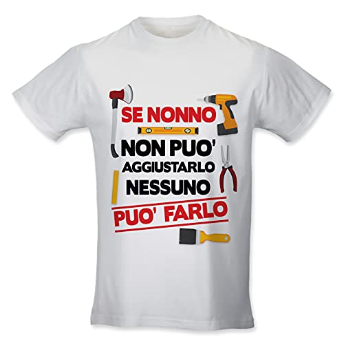 Babloo T Shirt Uomo Simpatica Idea Regalo Festa dei Nonni Se Nonno Non Puo' Aggiustarlo Nessuno Puo' Farlo Bianca L