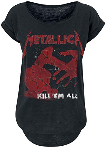 Metallica Kill 'Em All Shattered Mujer Camiseta Negro M, 100% algodón, Ancho