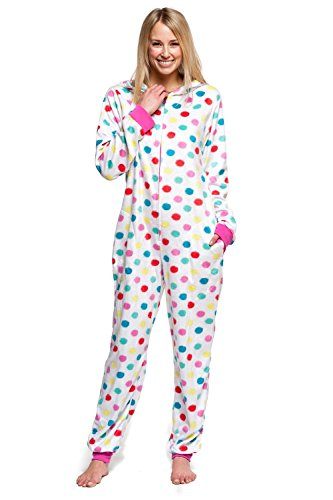 Women#039s Body Candy Wonderful Winter Hooded One Piece Plush Onesie Multicolor Polka Dots Large
