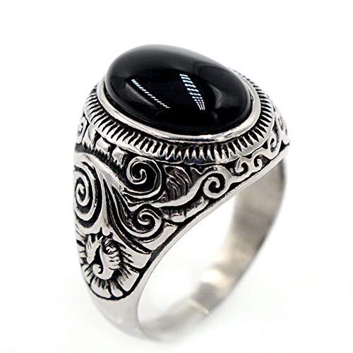 Sailormjy Ringen voor heren, roestvrij staal, turkoois, zwarte edelsteen-ring, voor mannen en vrouwen 10 zwart