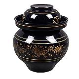 Tarro de fermentación de 2,5 a 6,5 litros, tarro gres para kimchi con tapa cerámica almacenamiento de alimentos en escabeche puede para hacer encurtidos, chucrut y otros fer,4kg