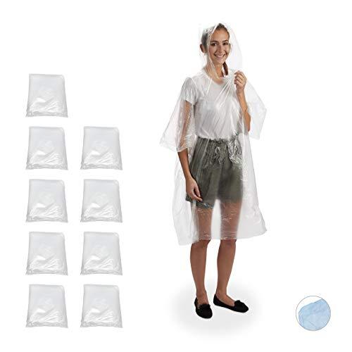 Relaxdays – Poncho de Lluvia 10 Unidades, con Capucha, desechable, para Adultos, Unisex, protección contra la Lluvia, Polietileno, Transparente