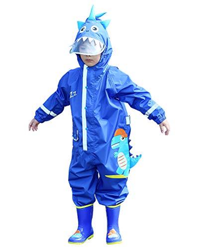 Adorel Jungen Regen-Anzug Overall mit Kapuze Reflektor Dino Dinosaurier mit Cap 110-116 EU (Herstellergröße M)