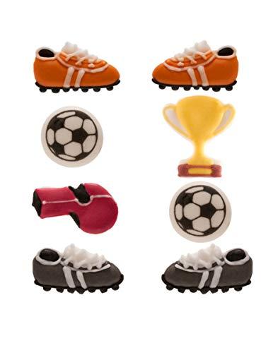Pack de 8 piezas de decoración de azúcar duro con un tema de fútbol
