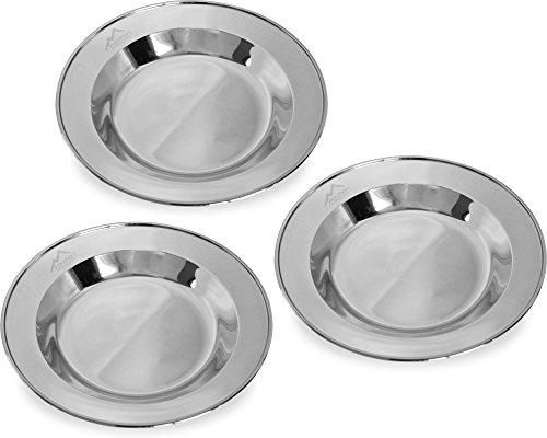 normani 1-3 Stück robuste Edelstahl Camping Teller, rostfrei Farbe 3 Stück -Silber