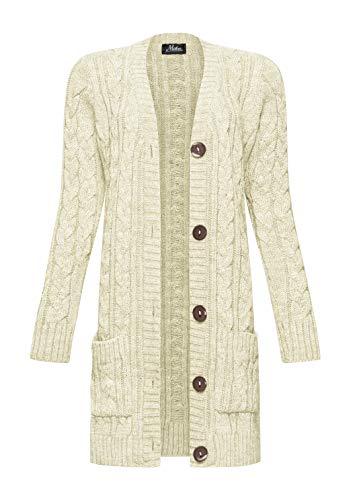 Mikos* Damen Cardigan Lang Elegant Strickjacke Wolle Langarm Strickmantel Mantel Frühling/Winter/Herbst (535) (Hellbeige, XL)