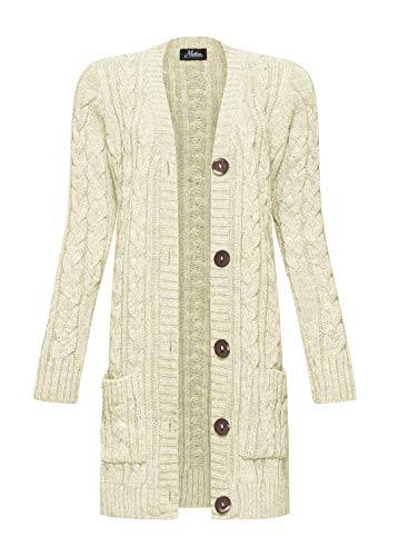 Mikos* dames cardigan lang elegant gebreid vest wol lange mouwen gebreide mantel voorjaar/winter/herfst (535)