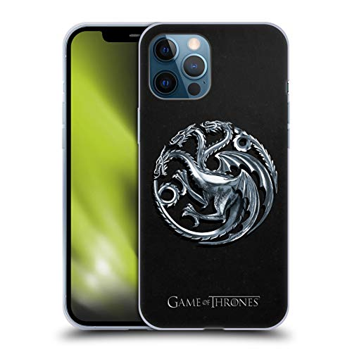 Head Case Designs Officially Licensed HBO Game of Thrones Silver Targaryen Sigils Soft Gel Case Compatible with Apple iPhone 12 Pro Max