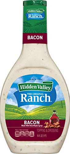Hidden Valley Bacon Ranch Salad Dressing & Topping, Gluten Free - 16 Ounce Bottle (Package May Vary)