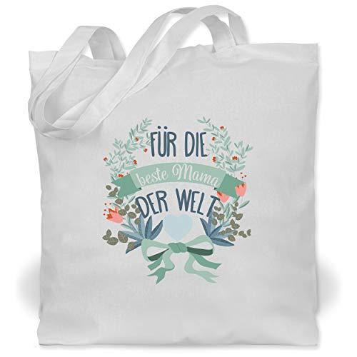 Shirtracer Muttertagsgeschenk - Für die beste Mama der Welt blau mit Kranz - Unisize - Weiß - XT600_Jutebeutel_lang - WM101 - Stoffbeutel aus Baumwolle Jutebeutel lange Henkel