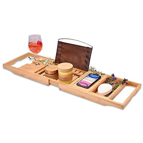 Bamboo Bathtub Tray - Perfect Expandable Bathtub Caddy with Reading Rack or Tablet Holder, This Premium Bath Tray Includes a Wine Glass Holder