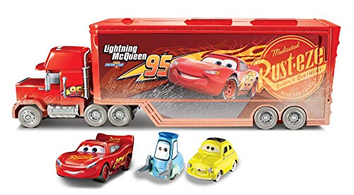 Disney Pixar Cars Fireball Beach Racers Mack Hauler Vehicle with Two Toy Cars