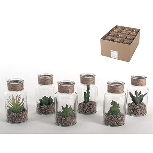 6 pz Barattolo Vetro Cactus Artificiali Piante Grasse in Vaso Bottiglia Vetro Trasparente con Corda Iuta, h. 13 cm D'Interno Verde Bonsai Plastica in Terrario Davanzale Giardino Casa Bomboniere