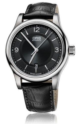 Oris clásico Fecha Negro Dial Negro Cuero Mens Reloj 0173375944034–0752011por Oris