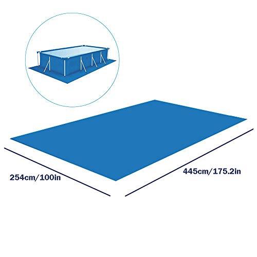 Rechteckige Bodenplane für Pools über dem Boden, faltbar, wasserdicht, Bodenschutz, leicht zu reinigen, PE-Matte für Schwimmbäder, aufblasbare Pools, Planschbecken (4 Größen), 254*445cm