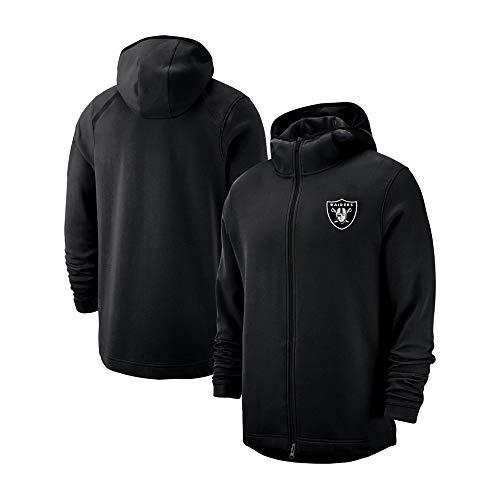 FAN JERSEY Herren Hoodie Sweatshirt - Raiders Team - American Rugby Team Sweater Fußball Fan Ball Trikot - Teen Zipper Jacke Geschenk Sweatshirts (Color : Black, Size : XL)