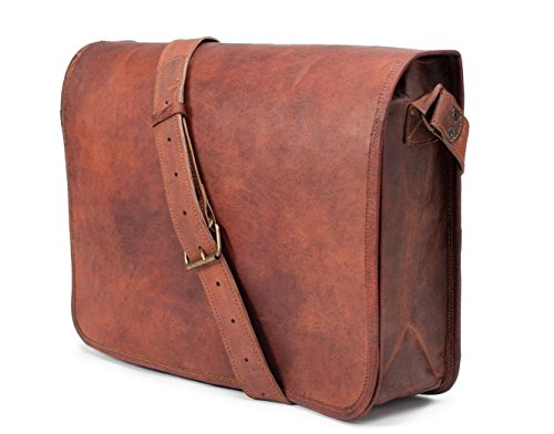 ANUENT Leather Bags Vintage Soft Leather Messenger Brown Real Laptop Satchel Bag Genuine Briefcase (Dark Brown)